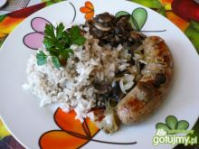 Smażona biała kiełbasa z ryżem