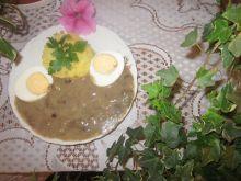 Sos grzybowy z jajkiem i ziemniakami