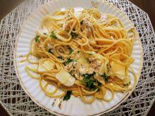 Spaghetti a'la carbonara z łososiem