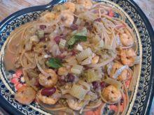 Spaghetti krewetkowe z fasolą