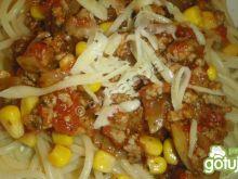 Spaghetti mięsne z kukurydzą