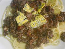 Spaghetti pomidorowe z jeleniną
