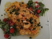 Spaghetti z krewetkami i dynią