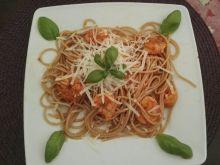 Spaghetti z krewetkami w sosie z mango