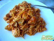 spaghetti z kurczakiem.