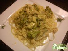 Spaghetti z kurczakiem i brokułami