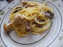 Spaghetti z kurczakiem i maślakiem