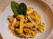Spaghetti z kurczakiem i porem