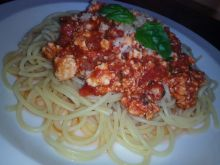 Spaghetti z mielonej piersi z kurczaka