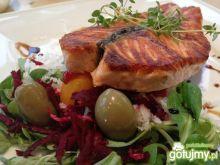 Stek z łososia skropiony octem balsamico