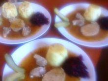 stożek kartoflany ze schabem i sosem