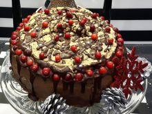 Świąteczny tort makowy z masą piernikową i bezą