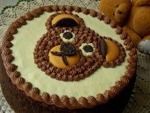 Tort brzoskwiniowy z misiem