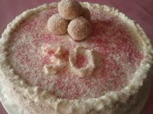 Tort budyniowo śmietankowy z kokosem