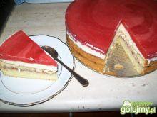 Tort,ciasto tortowe z musem truskawkowym
