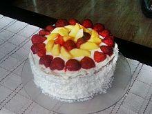 Tort cytrynowo- bezowo- kokosowy