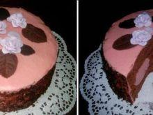 Tort czekoladowo - rabarbarowy