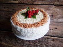 Tort kokosowa delicja z malinami