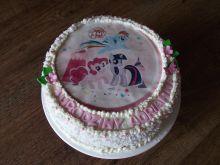 Tort owocowy z masą budyniową i kokosem - kucyki