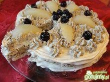 Tort Pavlova z kremem kawowym, gruszkami