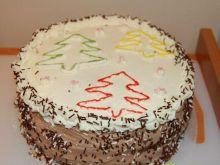 Tort zimowy -  śmietankowo kakaowy