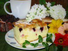 Ucierane ciasto z borówką i jabłkiem