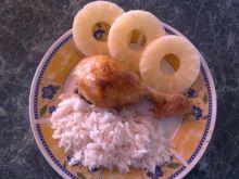 Udka pieczone ananasowe z ryżem