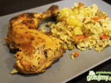 Udka pieczone w ryżu z warzywami
