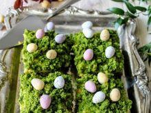 Wielkanocna łączka- szpinakowa kostka z mango curd