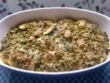 Zapiekanka makaronowa z cukinią, papryką, schabem