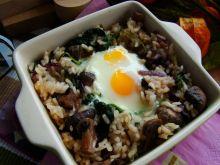 Zapiekanka ryżowa z pieczarkami i szpinakiem