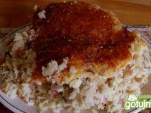 Zapiekanka ryżowa z pieczarkami i szynką