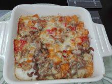 Zapiekanka z brązowym makaronem i dynią