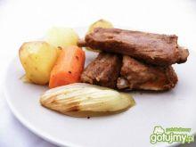 Żeberka w coli upieczone z warzywami