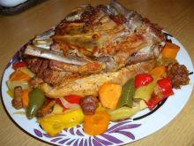 Żeberko obiadowe pieczone z warzywami