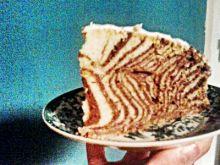 Zebra z polewą z białej czekolady