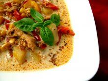 Zupa gyros z piersią z kurczaka i prażoną cebulką