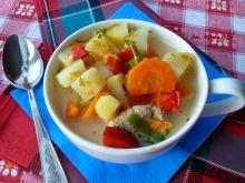 Zupa jesienna z papryką, porem i serkiem topionym