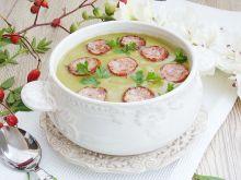 Zupa krem brokułowo-szpinakowa z bekonową kiełbasą