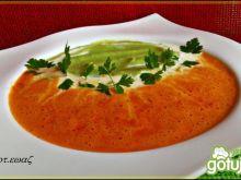 Zupa krem paprykowy z brokułowym puree