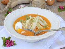 Zupa krem ze świeżych pomidorów z makaronem