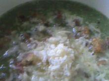 Zupa-krem ze szpinaku+grzanki czosnkowe