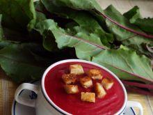 Zupa-krem ziemniaczano-buraczana z grzankami