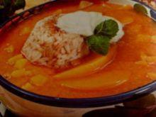 Zupa morelowa z ryżem.