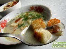 Zupa pieczarkowa z ryżem i grzankami