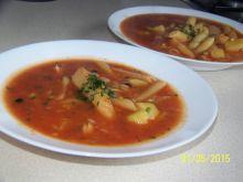 Zupa pomidorowa z ryżem, makaronem i ziemniakami