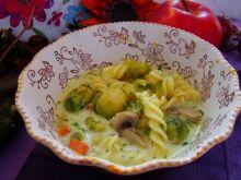 Zupa z makaronem  i brukselką