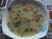Zupa z młodą kapustą, marchewką i groszkiem