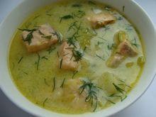 Zupa z porem i łososiem