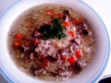 Zupa z serc i warzyw oraz kaszą kuskus